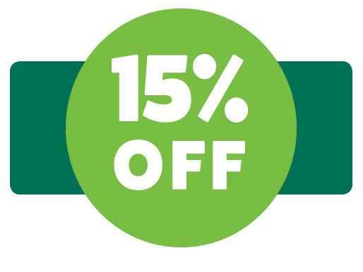 15 percent off graphic