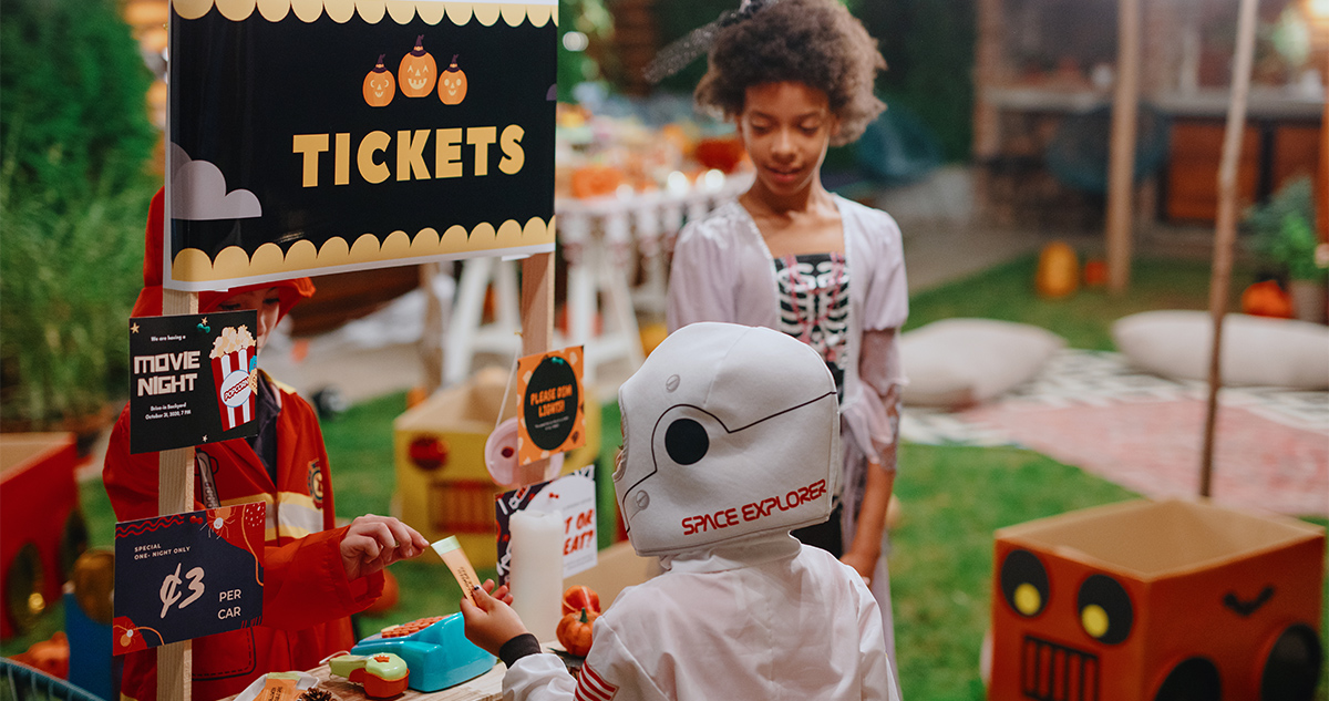 Host a halloween movie night in your backyard.