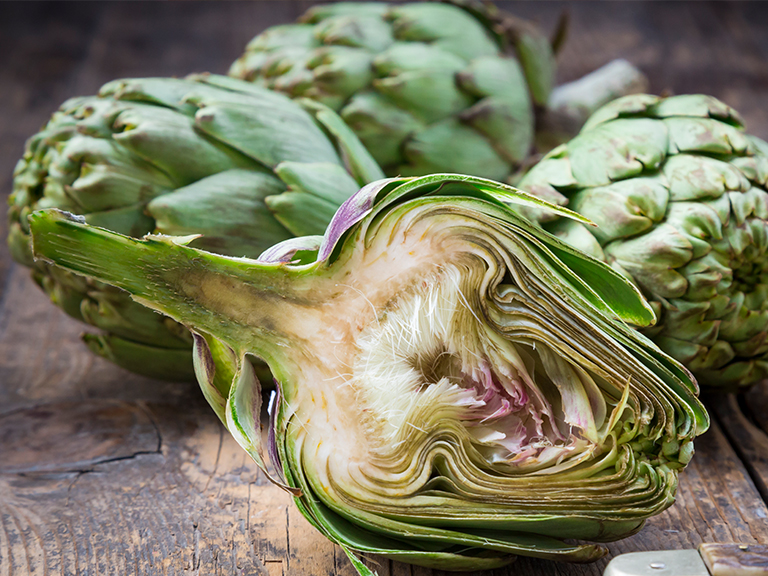 Artichoke cut in half