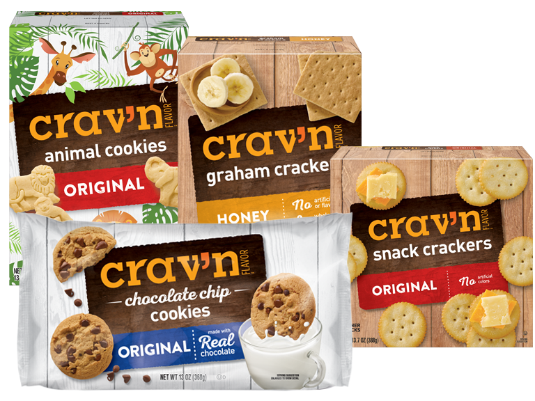 Boxes of Cravn Brand Crackers and Cookies