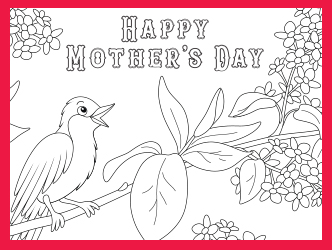 Mother's Day Bird coloring card