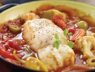 Spanish pollock stew in saute pan