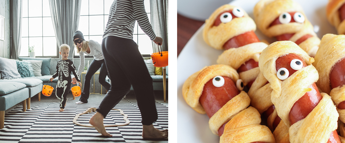Finding halloween candy around the house and mummy dogs!
