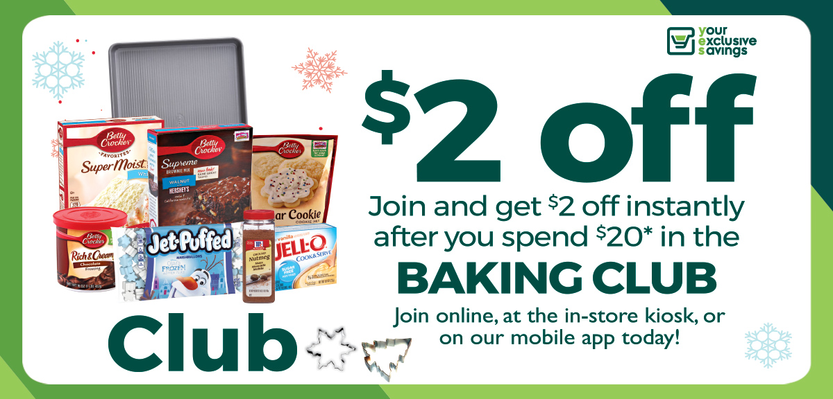 collage of baking products and save $2 off when joining the baking club