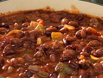 large pot filled with bean and beef chili
