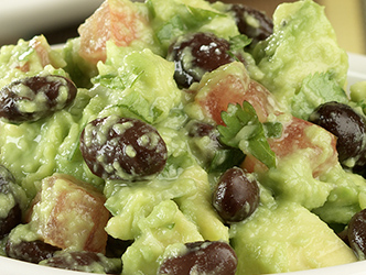 guacamole with black beans and tomatoes