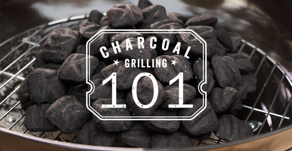 close up view of grill with charcoal and text reading grilling 101