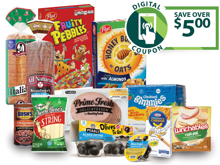 product collage includes cereal, bread, cheese, olives and baked beans