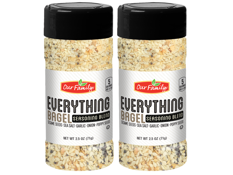 Packages of Our Family brand Everything Bagel seasoning