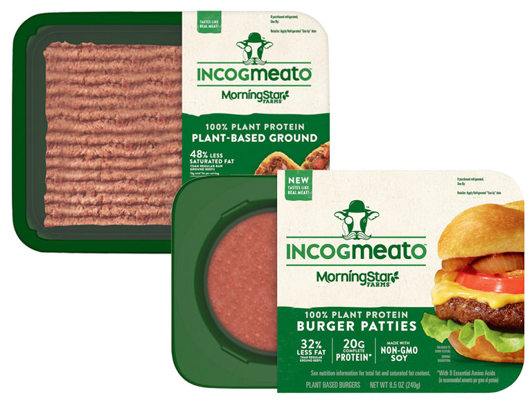 Packages of Incogmeato Brand plant based meat alternative