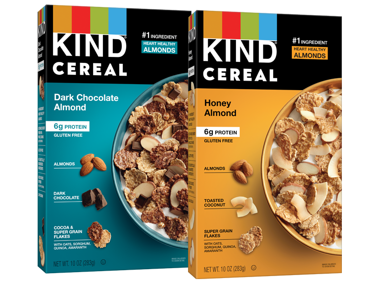 Two boxes of Kind brand cereal