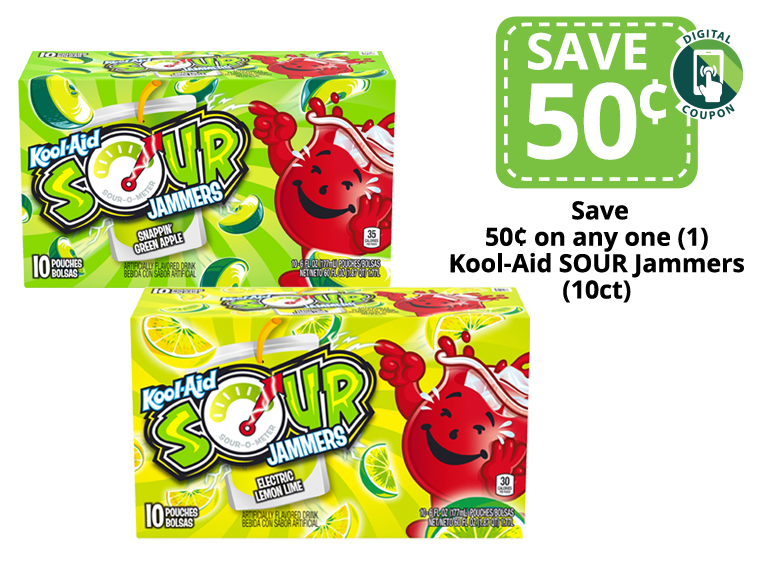 Packages of Kool-Aid Sour Jammers Drink Pouches