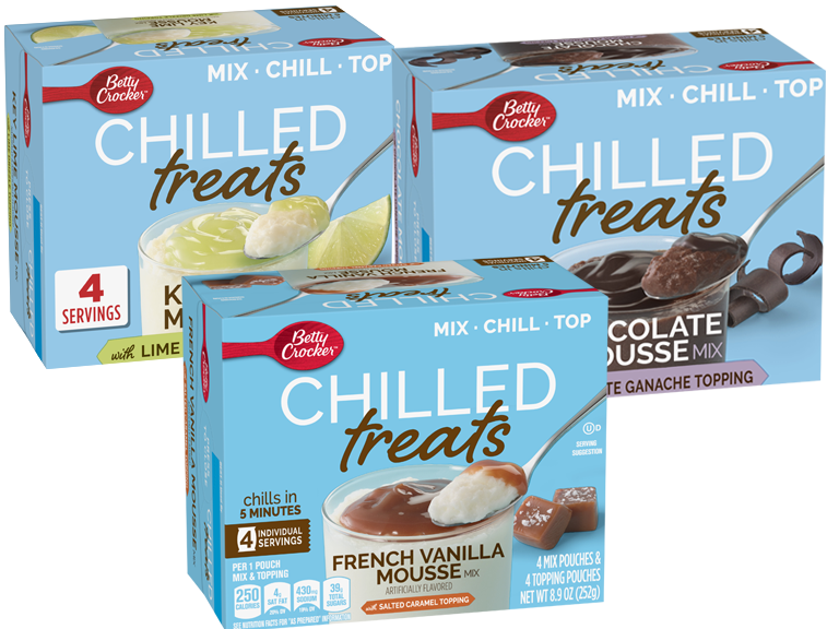 Packages of Betty Crocker Chilled Treats