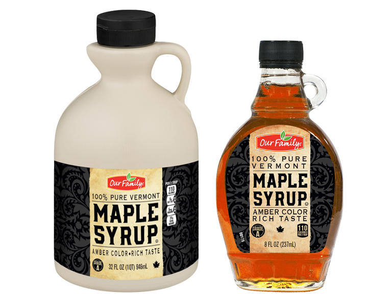 Bottles of Our Family Brand Maple Syrup