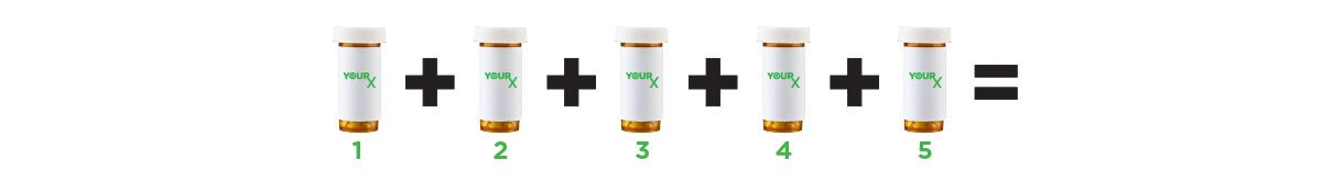 Five prescription bottles with a plus sign in between each and an equal sign at the end