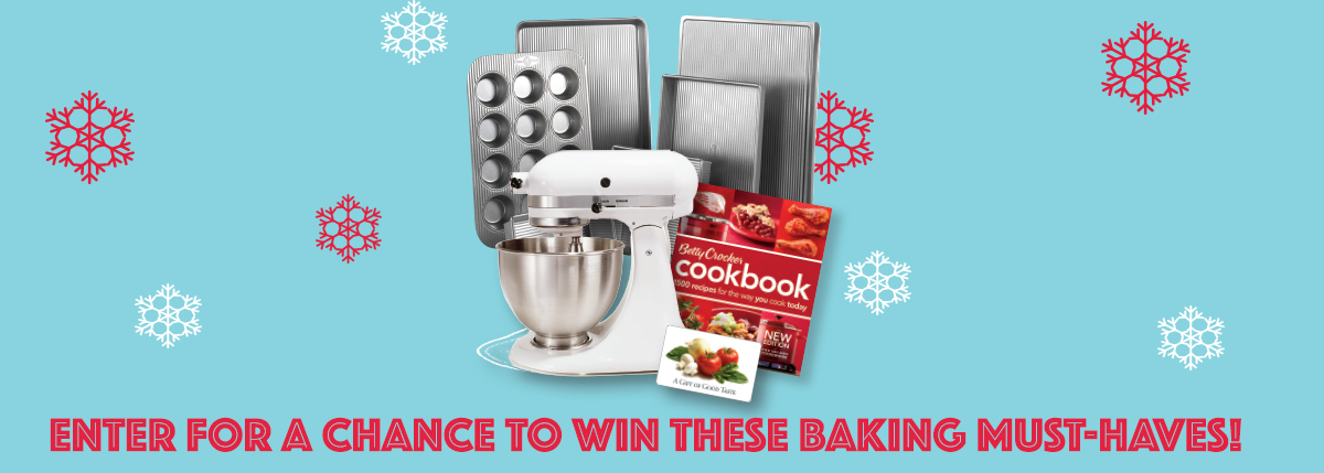 prizes which include baking pans, muffin pans, cook book, mixer and gift card
